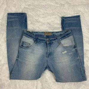 Zara Basic Z1975 Womens Jeans 4 Distressed Holes